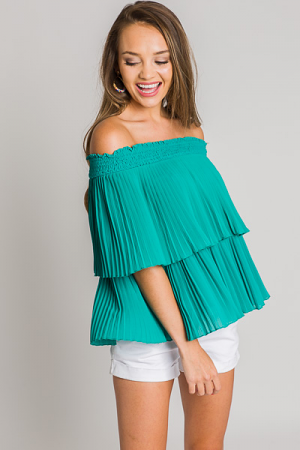 Jasmine Off Shoulder Top, Green