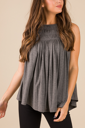 Smocking Stretch Tank, Charcoal