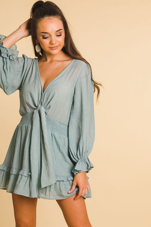 Cinched Knot Front Dress, Seafoam
