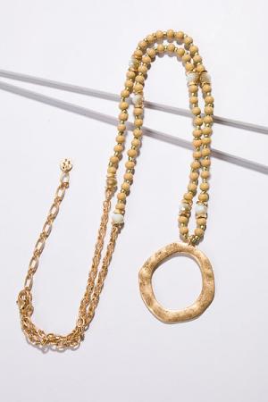 Natural Ring Necklace, Tan