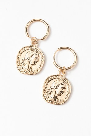 Coin Dangle Hoops, Gold