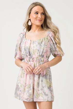 Anna Floral Romper, Pink