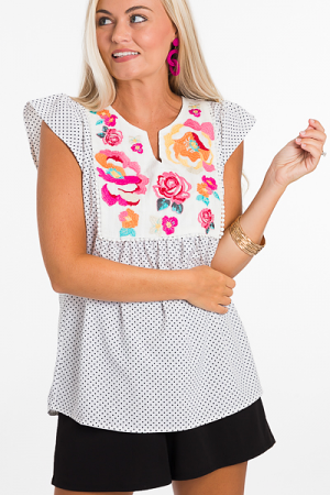 Embroidered Dotted Top