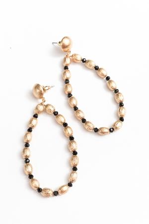 Teardrop CCB Ball Earrings, Black