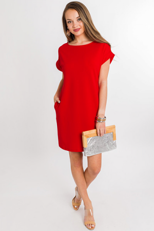 Emma Pocket Dress, Red
