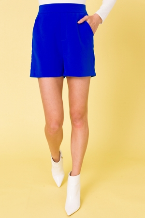 Neon Blue Solid Shorts