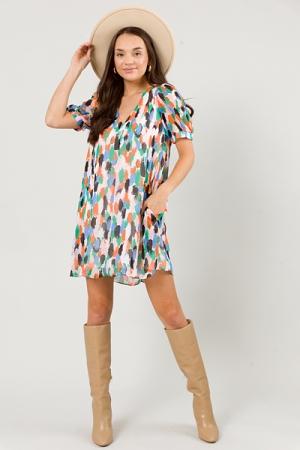Addie Woven Dress, Multi Stroke