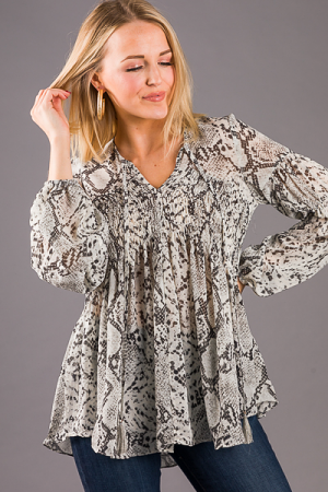 Smocking Snake Blouse, Gray