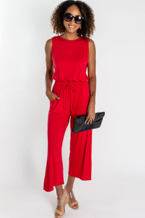 Basic Knit Jumpsuit, Red