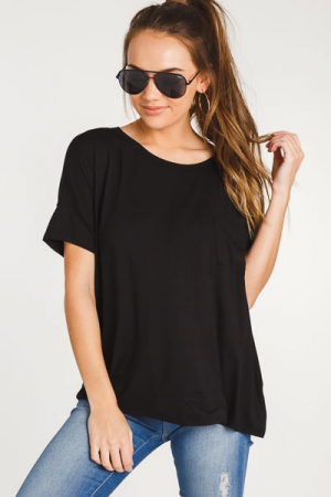 Bamboo Pocket T-Shirt, Black