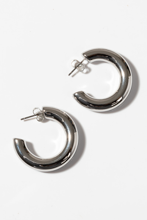 Small Tube Hoops, Silver