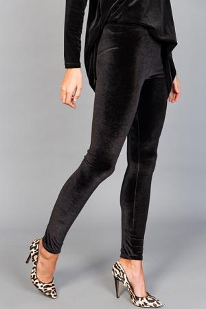 Velvet Leggings, Black