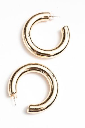 55mm Hollow Hoops, Gold