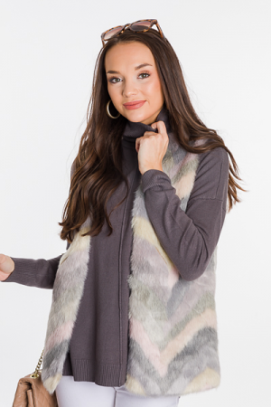 Faux Fur Multi Color Vest