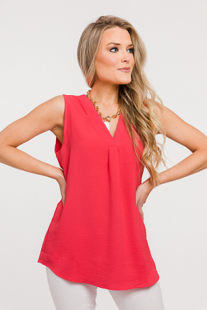 Pleated V Tank, Coral