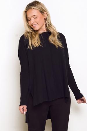 Solid Hi-Lo Sweater, Black