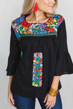 Bianca Embroidered Top, Black