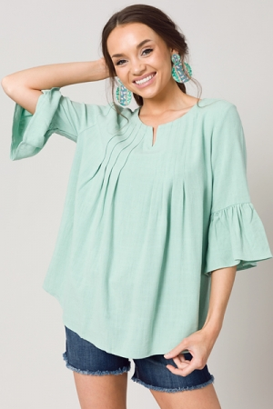 Linen Pintuck Tunic, Mint