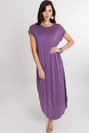 Rolled Sleeve Maxi, Dusty Purple