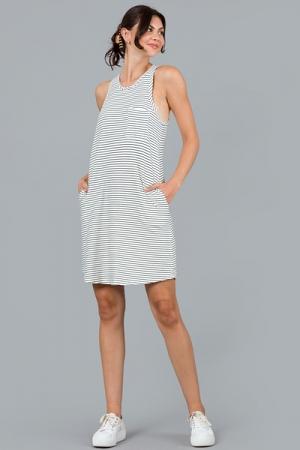 Swinging Stripes Dress, Ivory/Black
