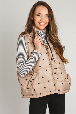 Polka Dot Puffer Vest, Taupe