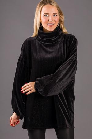 Velvet Shimmer Tunic, Black