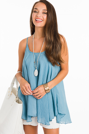 2 Layer Solid Cami, Blue