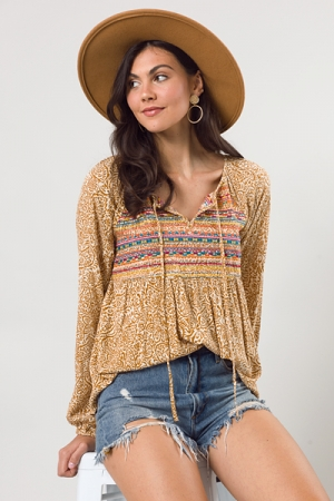 Embroidered Paisley Top, Marigold