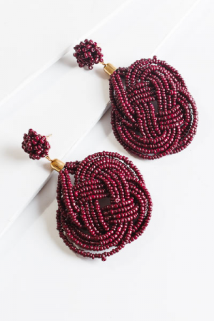 Knotted Bead Ear, Wine