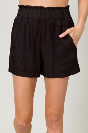 High Waist Elastic Shorts, Black
