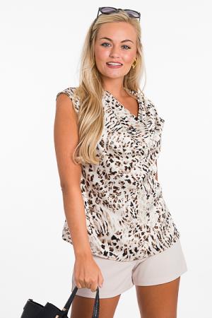 Silky Cowl Blouse, Cheetah