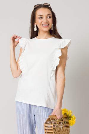 Cotton Ruffle Top, White