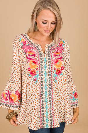 Specks Embroidery Tunic, Cream
