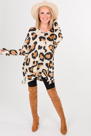 Elsie Sweater, Tan Leopard