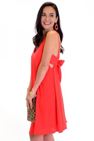 Tie Back Slip Dress, Red