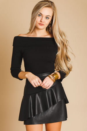 Flare Leather Layered Skirt