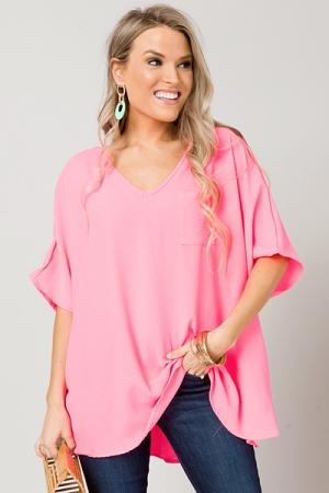 Oversized V-Neck Blouse, Hot Pink