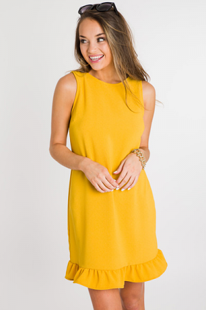 Ruffle Hem Tank Dress, Yellow