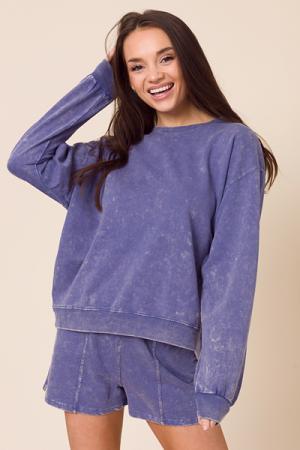 Mineral Wash Sweatshirt, Indigo