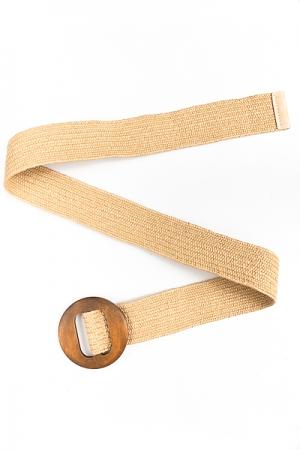 Wooden Circle Straw Belt, Tan