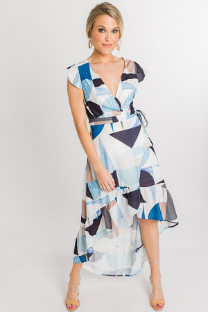 Blue Abstract Wrap Dress