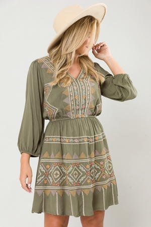 Shiloh Embroidery Dress, Green
