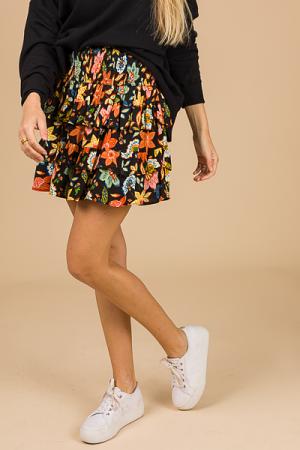 Floral Smock Skirt, Black Multi