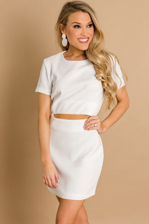 Mid-Drift Dress, White