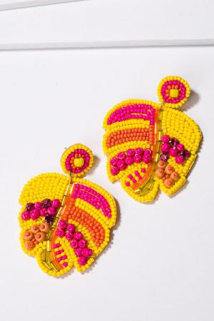 Tropical Leaf Earring, Yellow
