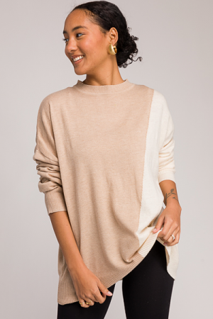 Two Tone Slant Sweater, Taupe