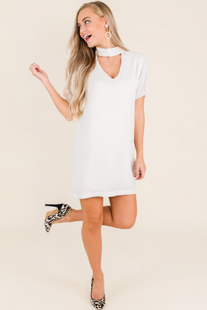 Solid Choker Dress, Taupe
