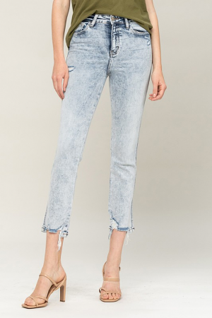 Acid Wash Straight Leg Jeans