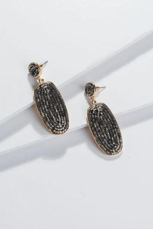 Dazzling Drop Earrings, Charcoal