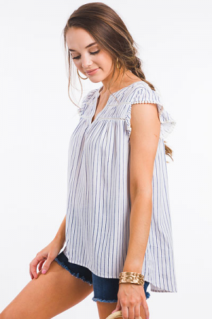Coastal Blues Stripe Top